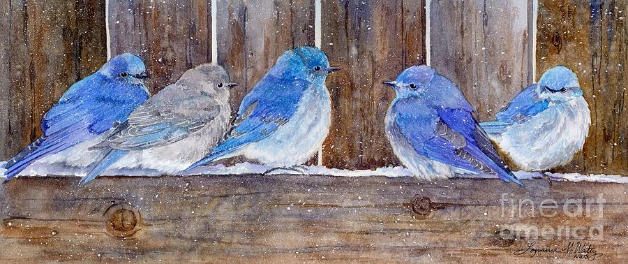 Birds Painting - Blue Birds Fly by Lorraine Watry