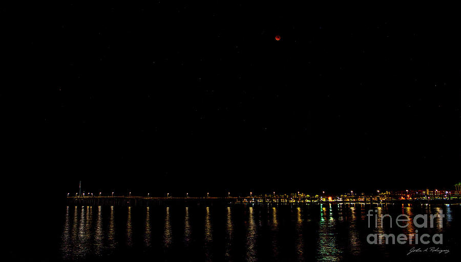 Blue Blood Moon 2018 Ventura, California Pier by John A Rodriguez