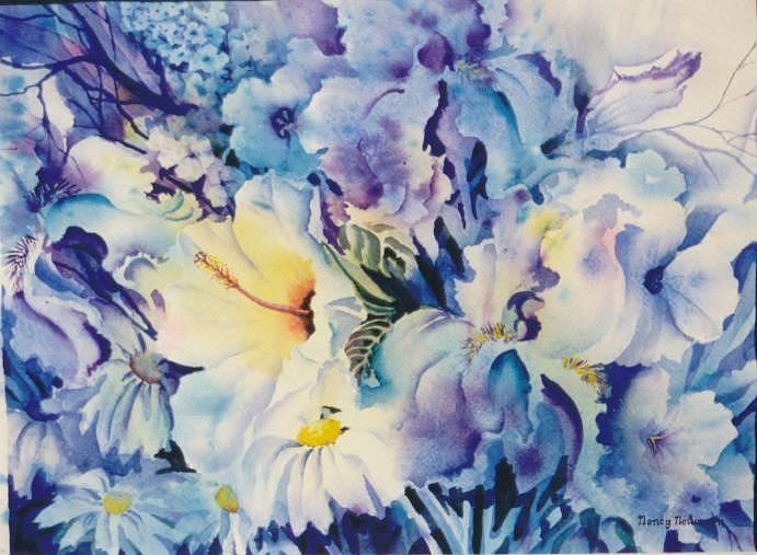 Lilies Painting - Blue-blossoms by Nancy Newman