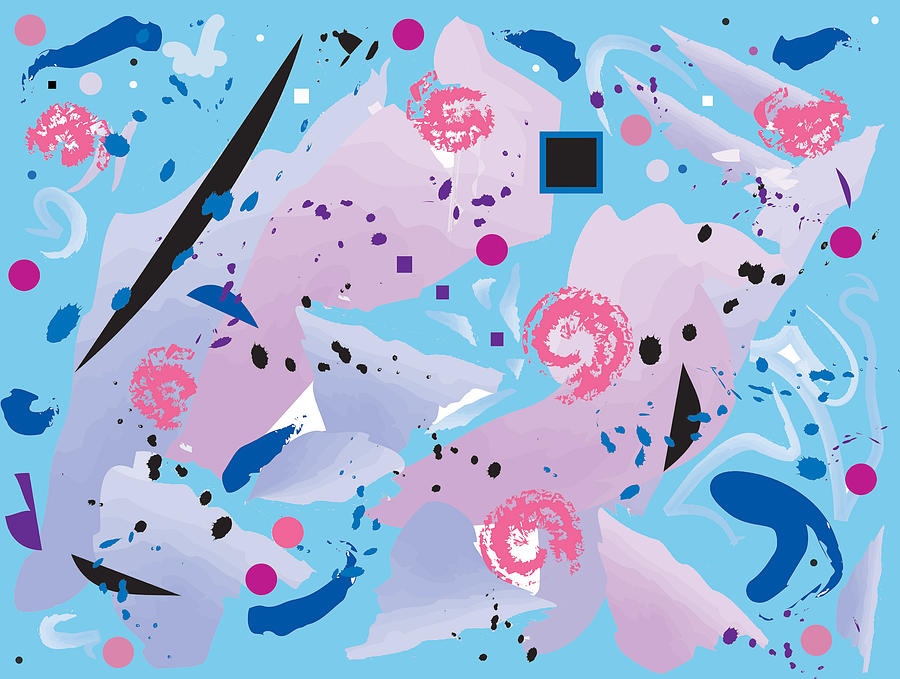 Pink Digital Art - Blue Blue Abstract by Good Taste Art