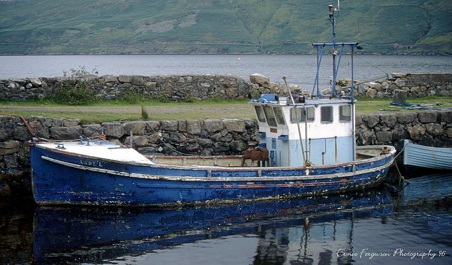 Seascape Photograph - Blue Boat -connemarra Ireland by Ernie Ferguson