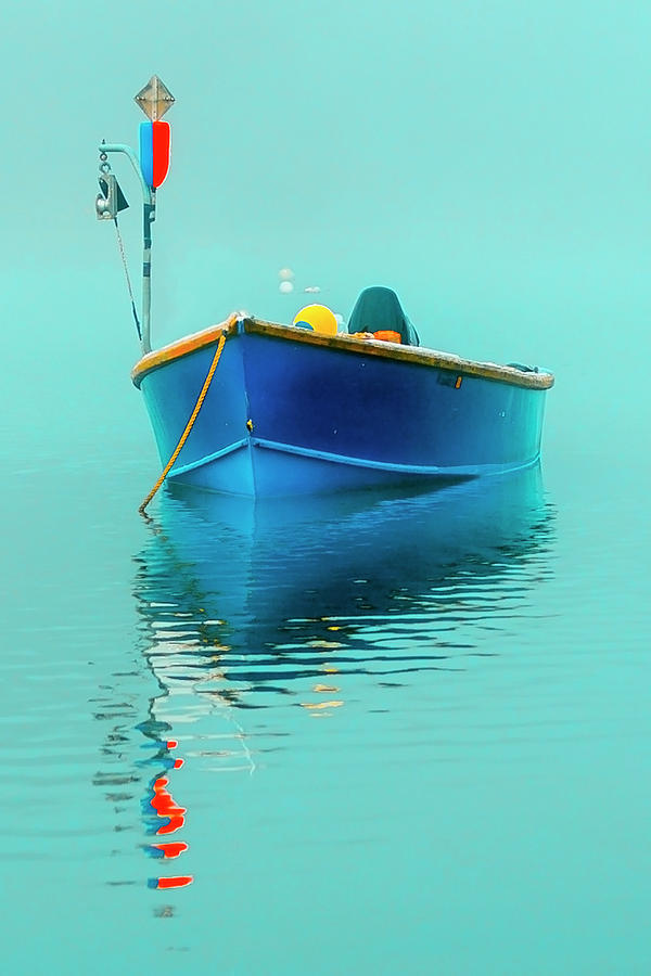 Blue boat reflections by Dapixara Art