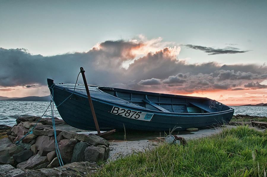 Boat Photograph - Blue Boat by Sam Smith
