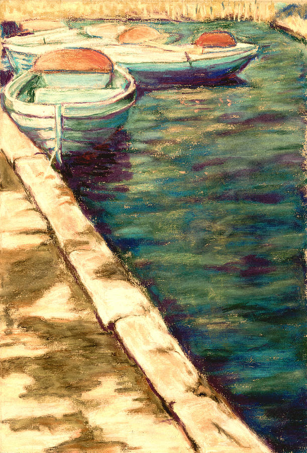 Boats Pastel - Blue Boats At Llangorse Wales by Judy Adamson