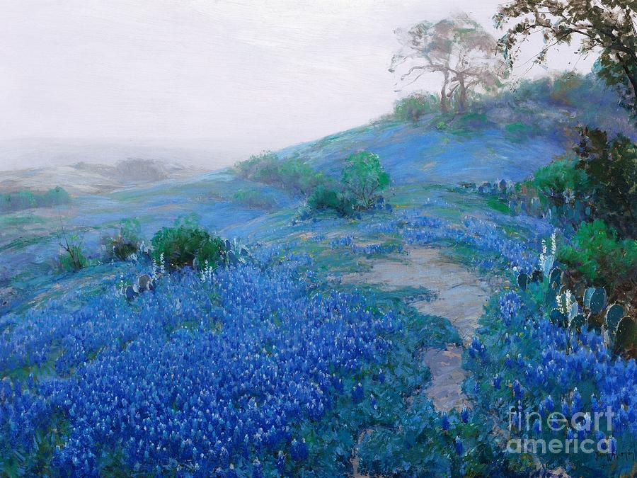 Flora Painting - Blue Bonnet Field Early Morning by Pg Reproductions