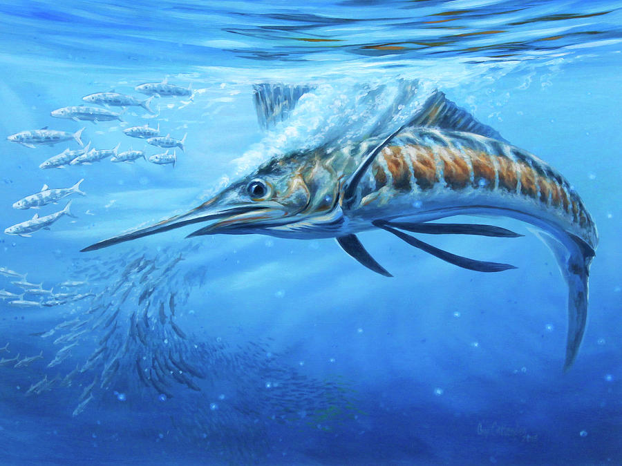 Sailfish Paintings Painting - Blue Bounty by Guy Crittenden