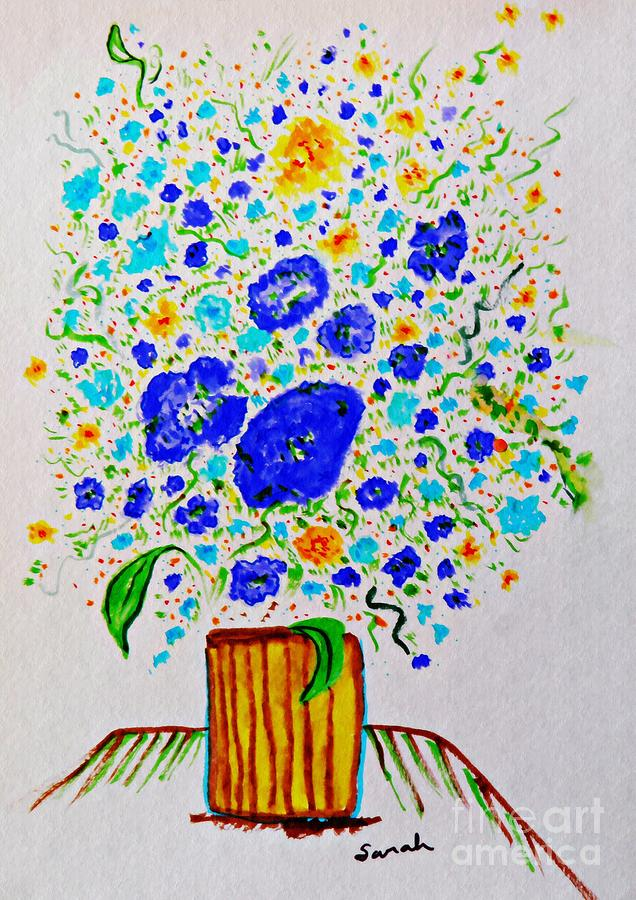 Blue Bouquet In A Yellow Vase Drawing