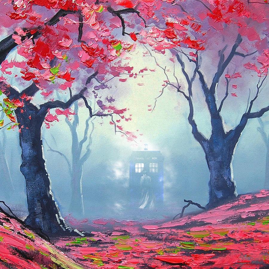 Tardis Painting - Blue Box Cloud Sakura Painting  by Koko Priyanto