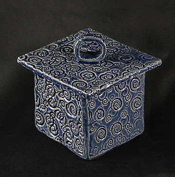 Spiral Design Ceramic Art - Blue Box With Circle On Lid by Martha Hamblin