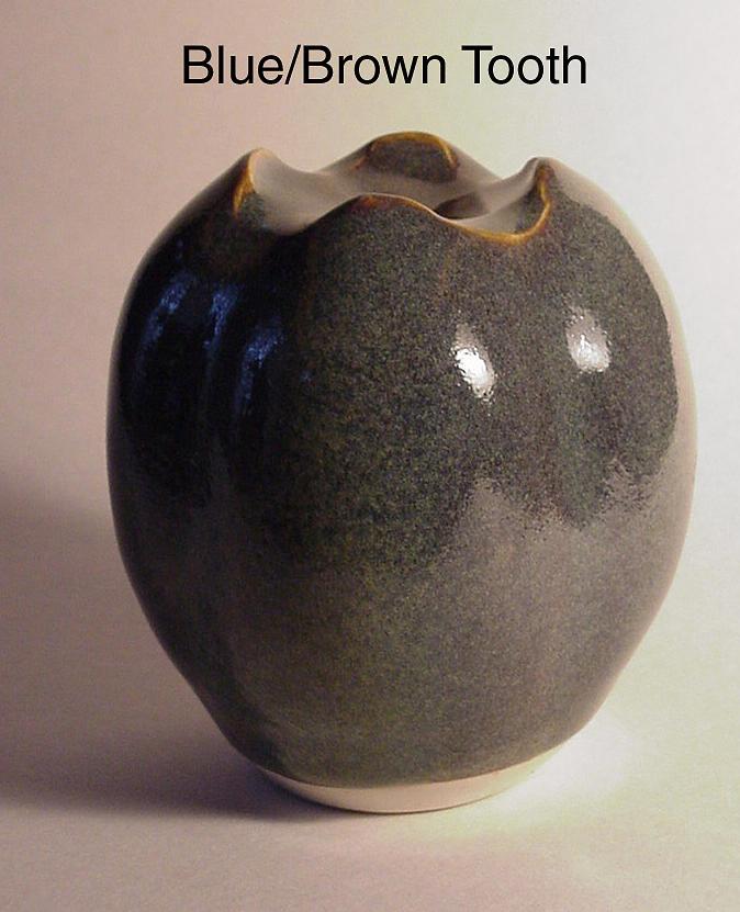 Ceramics Sculpture - Blue Brown Tooth by Skip Bleecker