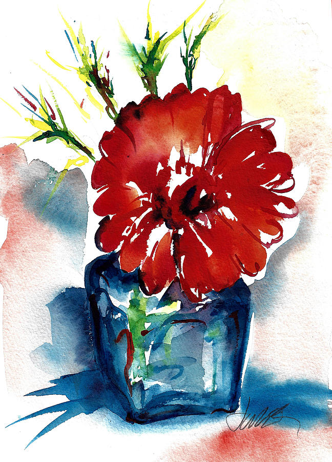Colorful Painting - Blue Bud Vase by Jacki Kellum