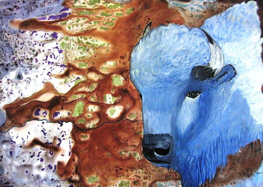 Buffalo Painting - Blue Buffalo by David Raderstorf
