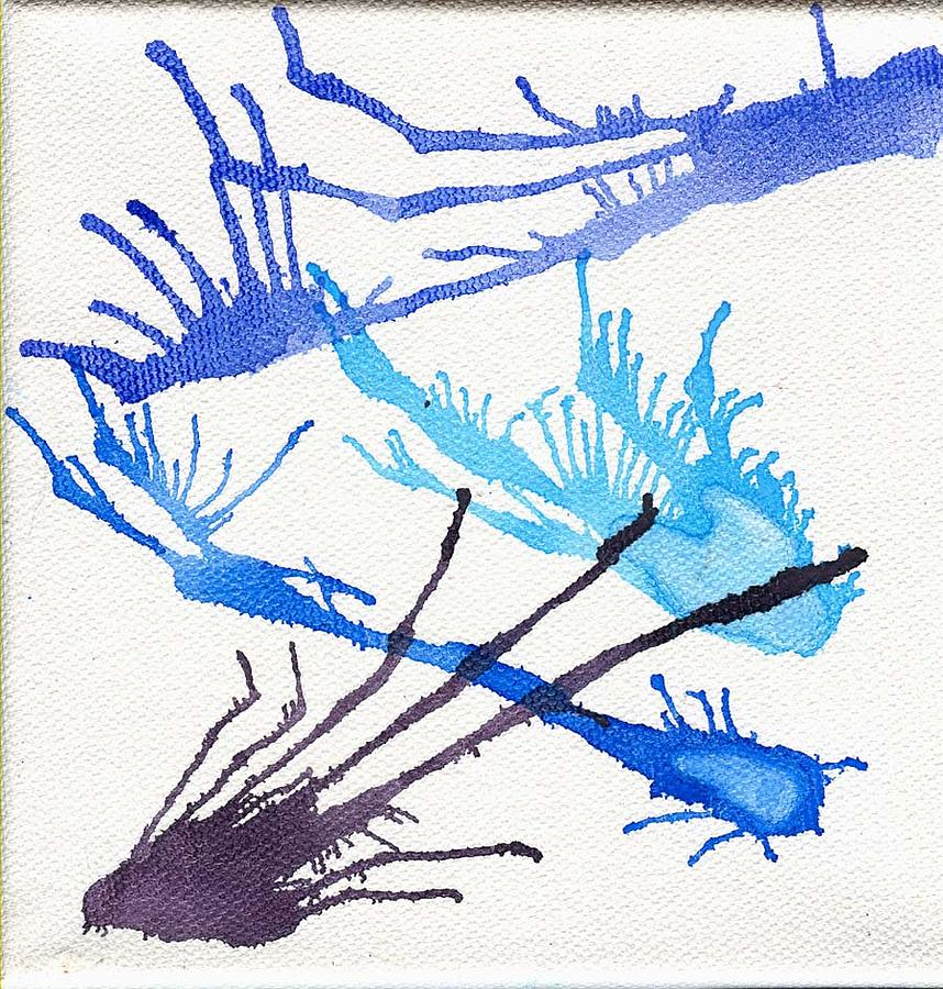 Abstract Painting - Blue Bursts No 2 by Samuel H Gross Jr