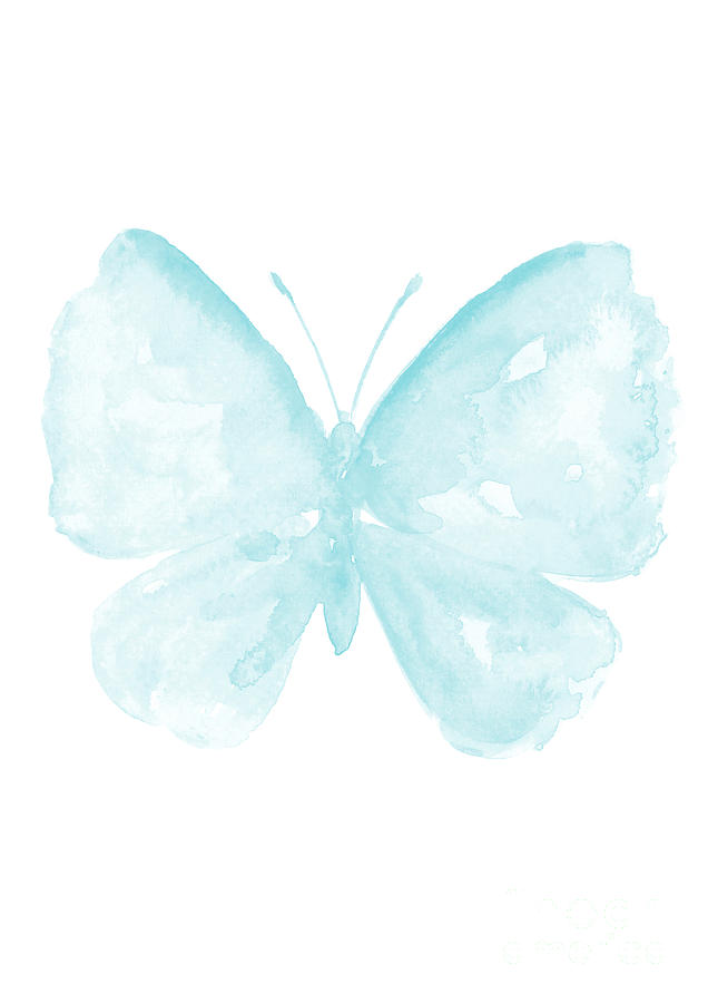 Watercolor butterfly. Blue baby paster kids