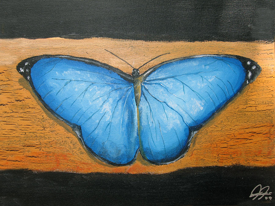 Blue Painting - Blue Butterfly by Christian  Hidalgo