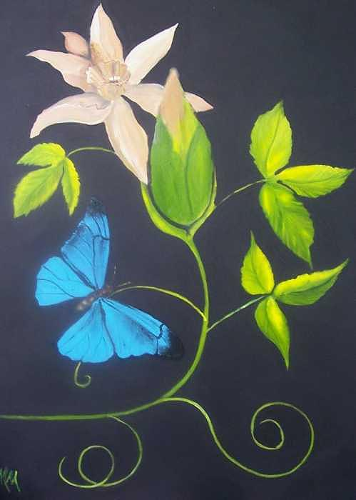 Butterfly Painting - Blue Butterfly by Martha Mullins