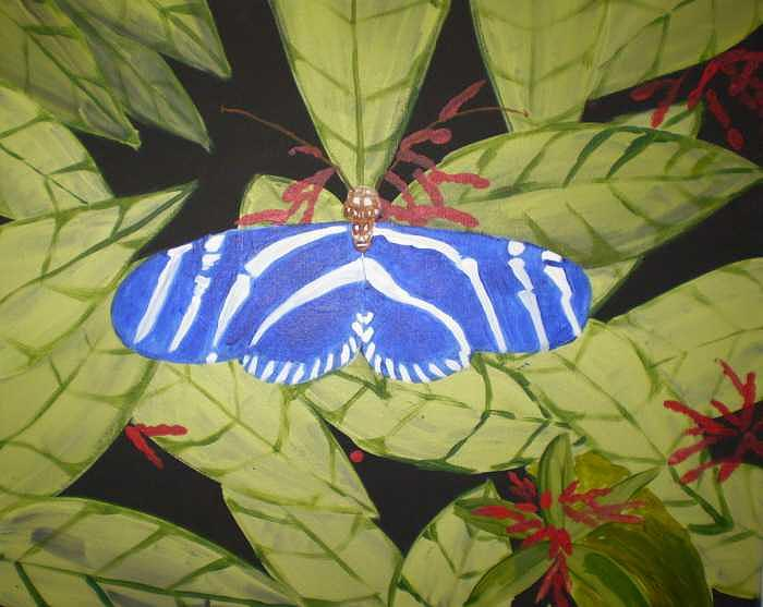 Bugs Painting - Blue Butterfly original by Christine Ward