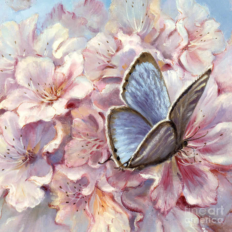 Blue Butterfly Painting by Silvia Duran