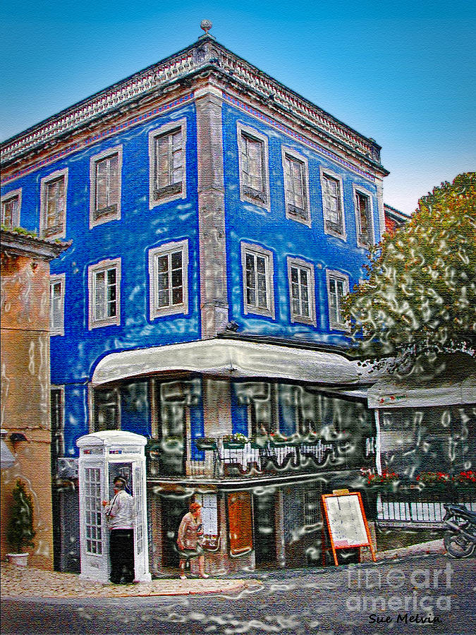 Cafe Photograph - Blue Cafe On The Corner by Sue Melvin