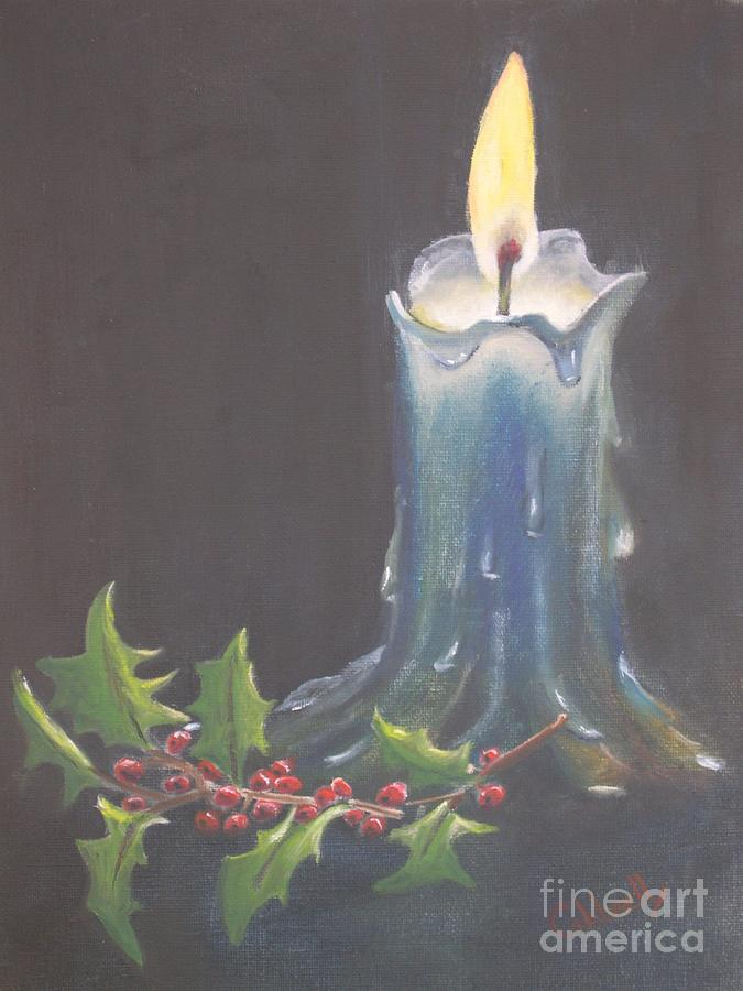 Blue candle painting by patricia caldwell for Candle painting medium