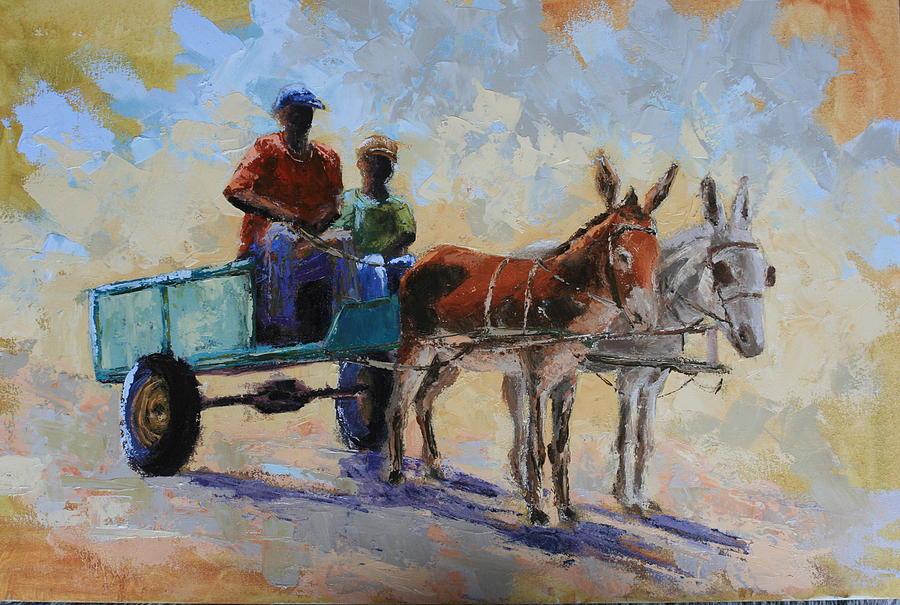 Landscape Painting - Blue Cart by Yvonne Ankerman