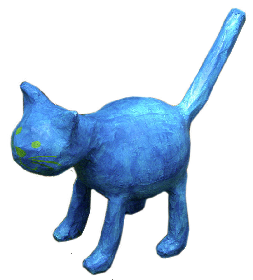 Cat Sculpture - Blue Cat by Maria Rosa