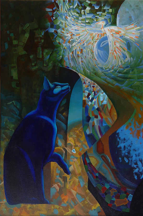 Blue Cat Painting - Blue Cat by Oleg Lipchenko