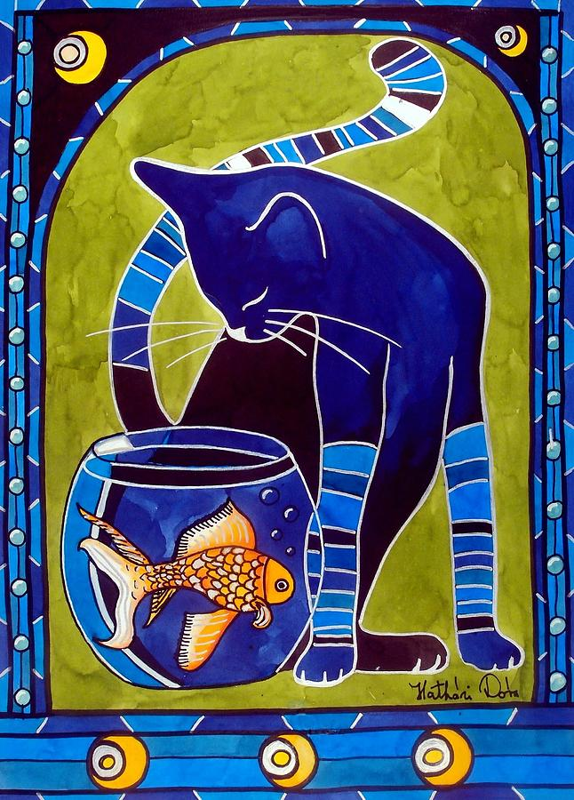 Blue Cat Painting - Blue Cat With Goldfish by Dora Hathazi Mendes