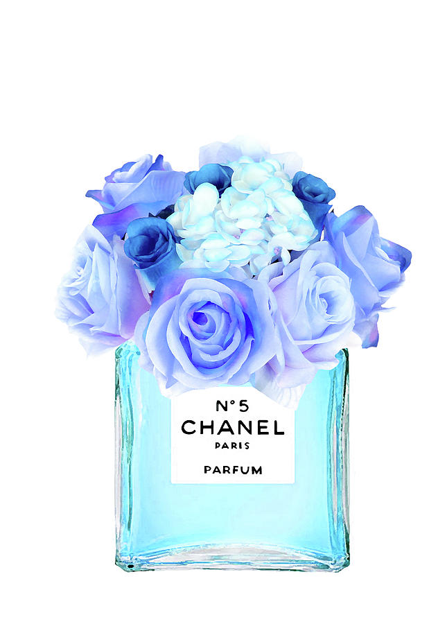 blue chanel no 5 with blue roses digital art by del art
