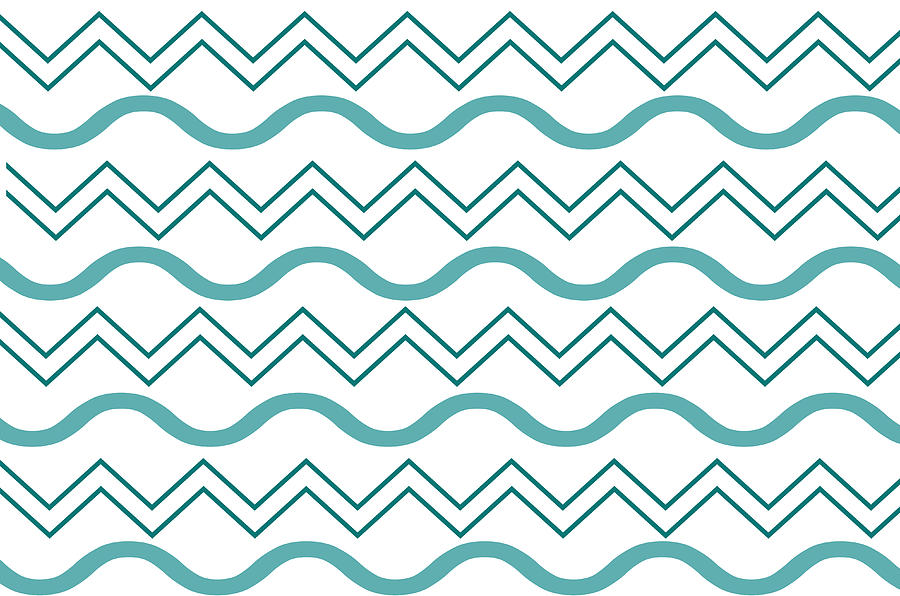 Blue Chevron Wave Pattern by Catherine Asoka Void