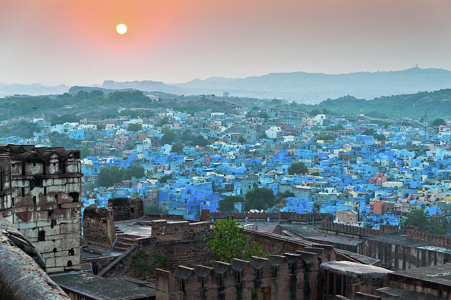 Horizontal Photograph - Blue City At Sunset by Massimo Calmonte (www.massimocalmonte.it)