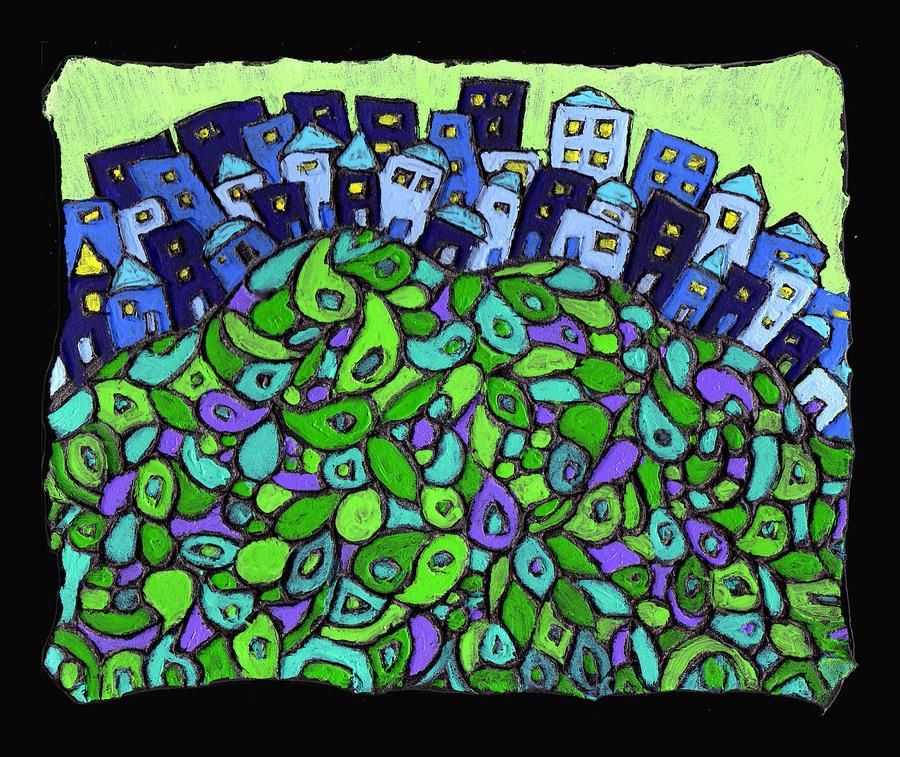 City Painting - Blue City On A Hill by Wayne Potrafka