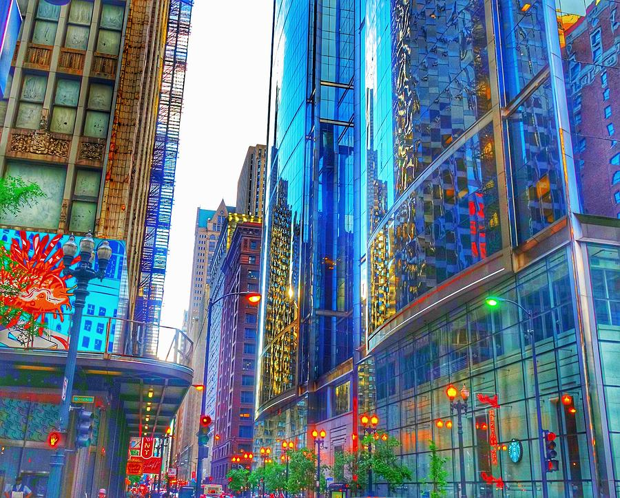 Building Photograph - Blue Cityscape by Marianne Dow