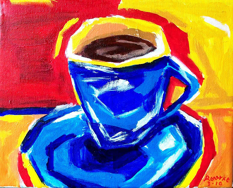 Coffee Painting - Blue Coffee by Nancy Rourke