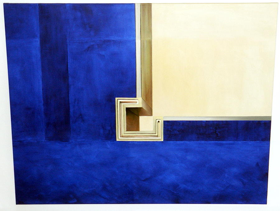 Paintings Painting - Blue Construktion On White by Albert Kutzelnig