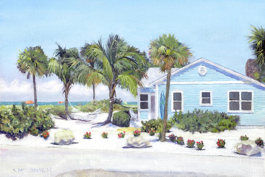 Siesta Key Painting - Blue Cottage On Siesta Key Beach, Access 3 by Shawn McLoughlin
