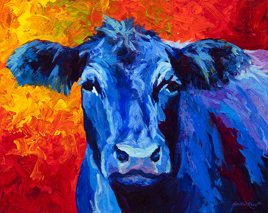 Blue cow ii painting by marion rose for Blue paintings on canvas