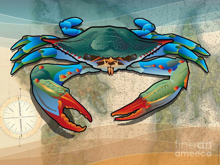 Crab Digital Art - Blue Crab by Joe Barsin