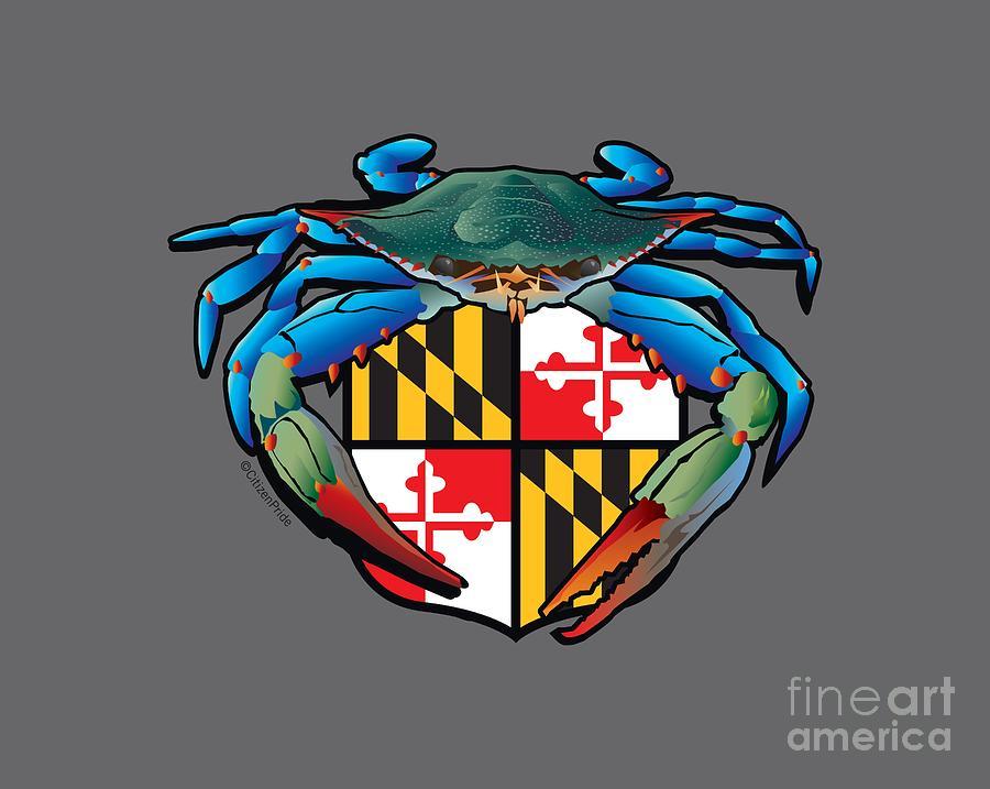 Maryland Flag Digital Art - Blue Crab Maryland Crest by Joe Barsin
