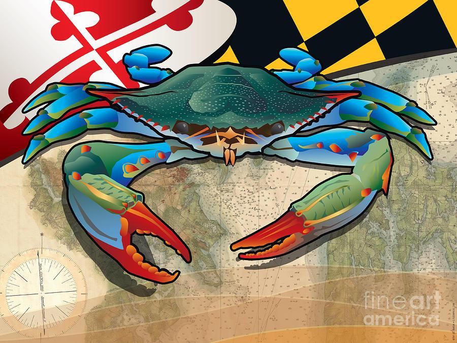 Crab Digital Art - Blue Crab Of Maryland by Joe Barsin