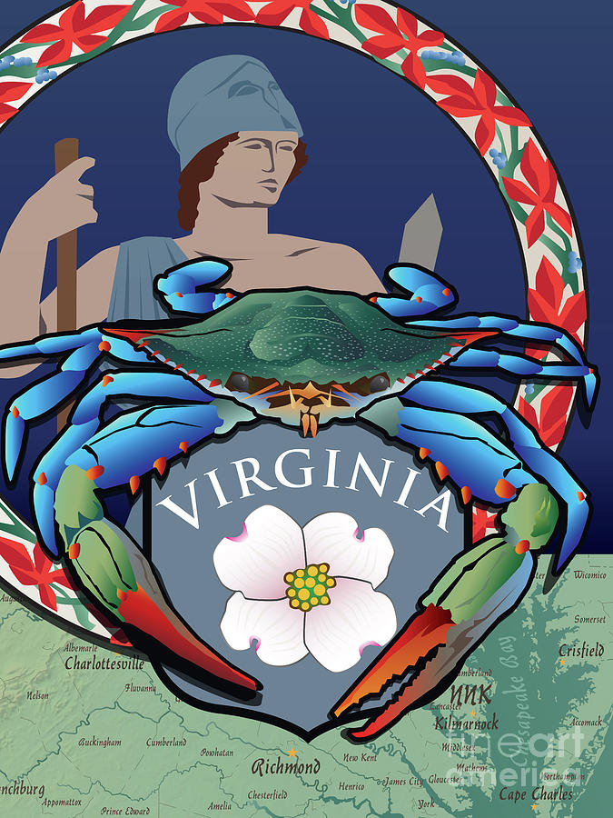 Virginia Flag Digital Art - Blue Crab Virginia Dogwood Flag by Joe Barsin