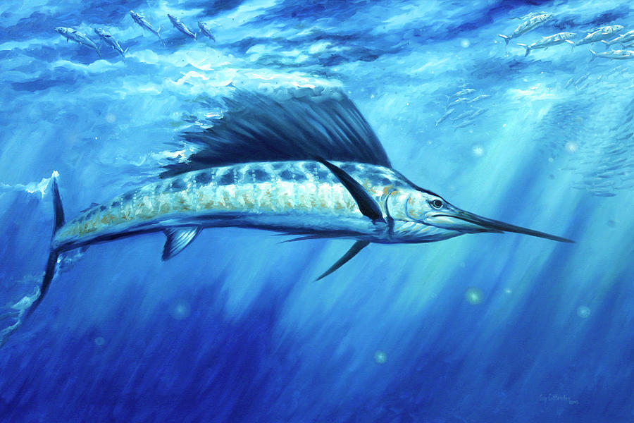 Sailfish Paintings Painting - Blue Crush by Guy Crittenden