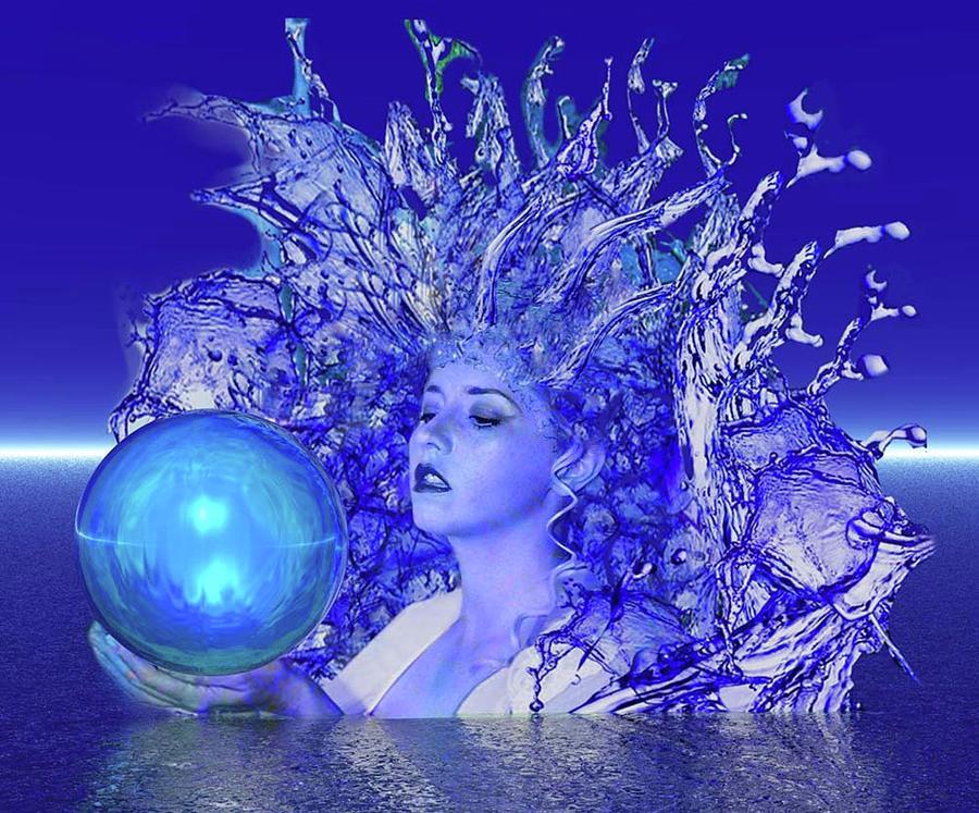 Blue Digital Art - Blue Crystal by Matthew Lacey