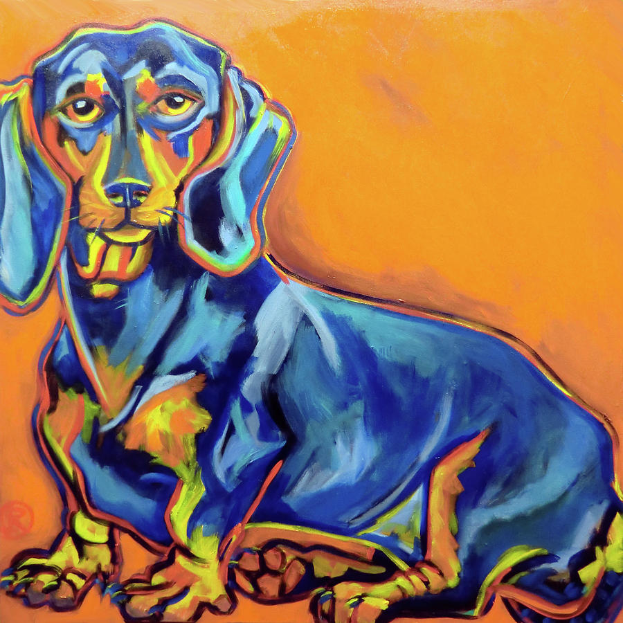 Dog Painting - Blue Dachshund by Ilene Richard