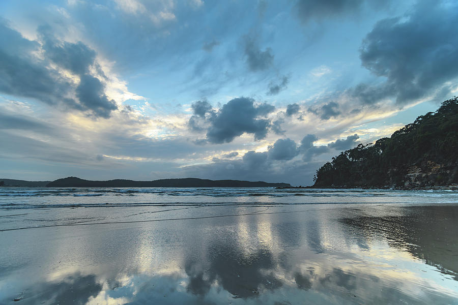 Umina Beach Photograph - Blue Dawn Seascape With Cloud Reflections by Merrillie Redden