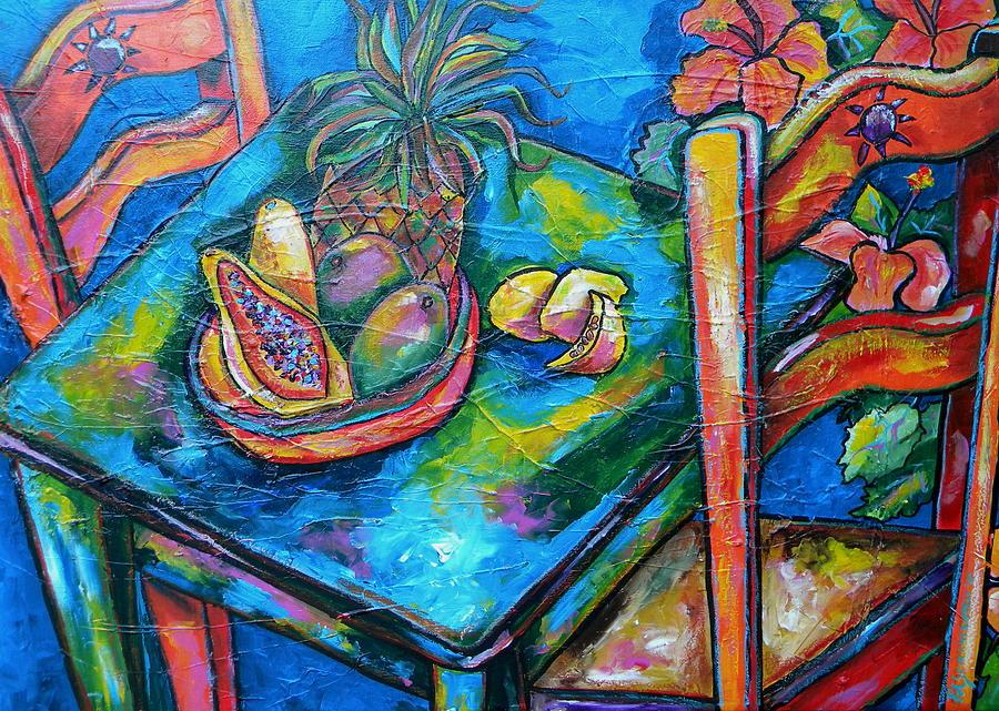 Tropical Painting - Blue Day by Patti Schermerhorn