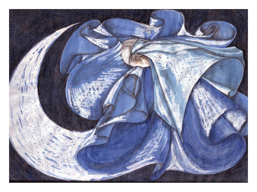 Dance Mixed Media - Blue Derwish by Amrei Al-Tobaishi-Jarosch