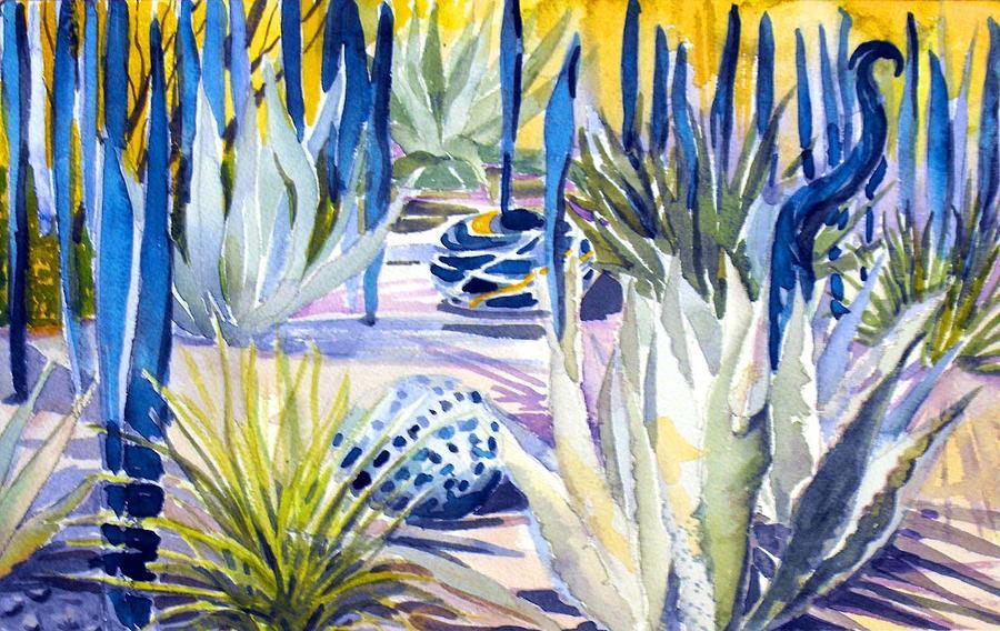 Watercolor Painting - Blue Desert Botanical Desert Phoenix by Mindy Newman