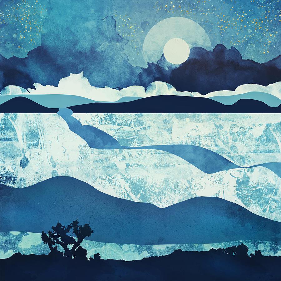 Blue Digital Art - Blue Desert by Spacefrog Designs