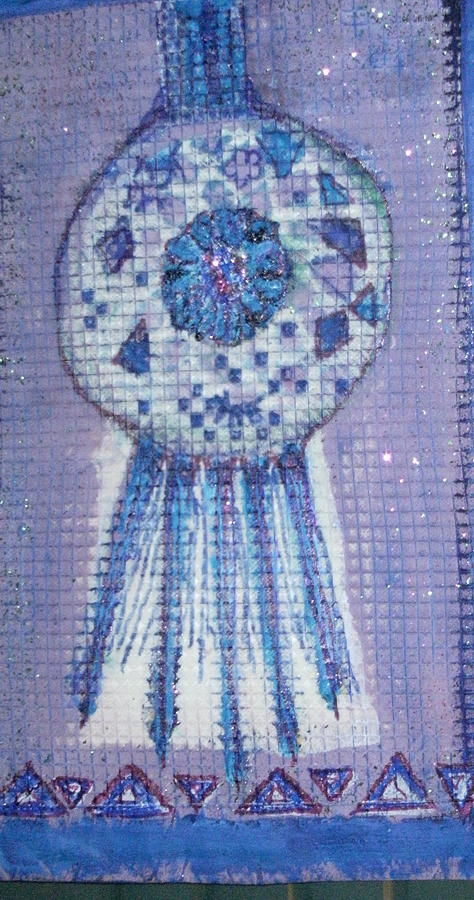 Blue Tapestry - Textile - Blue Designs On Webbing by Anne-Elizabeth Whiteway